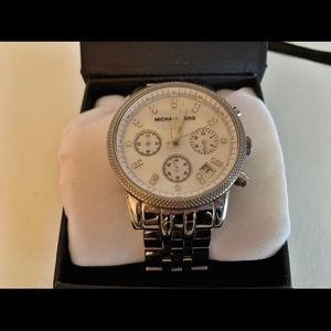 Michael Kors silver quartz rhinestone watch